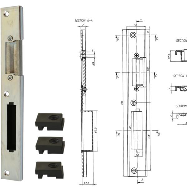 broasca ingropata pentru usi PVC 16mm – schita